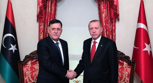 استقبال اردوغان از نخست وزیر دولت توافق ملی لیبی